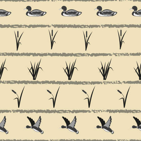 Seamless vector striped pattern with ducks and reeds.