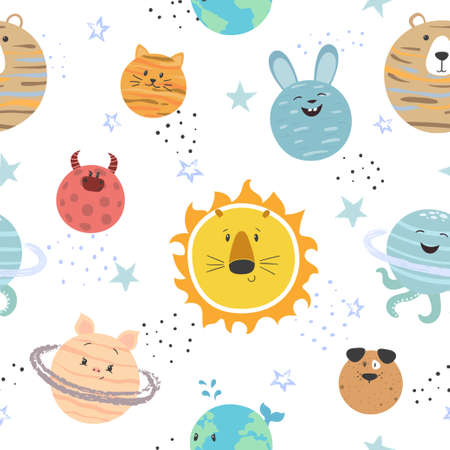 Cartoon solar system pattern. Space vector background with cute planets for kids. Standard-Bild - 121719620