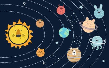 Cartoon vector solar system with cute planets for kids. Standard-Bild - 121719621
