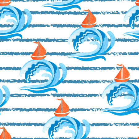 Seamless abstract watercolor sea pattern. Boats and waves vector illustration. Standard-Bild - 121719622