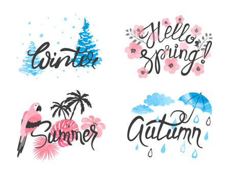 Four Seasons - winter, spring, summer, autumn. Vector watercolor illustration. Standard-Bild - 121719624