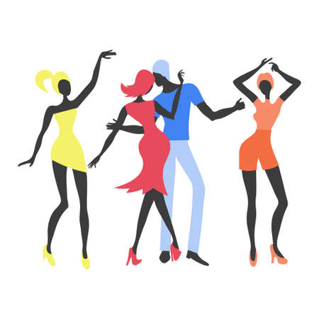 Group of young dancing people. Colorful party vector illustration. Standard-Bild - 121719626