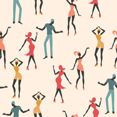 Seamless dance pattern. Colorful vector background with dancing people.