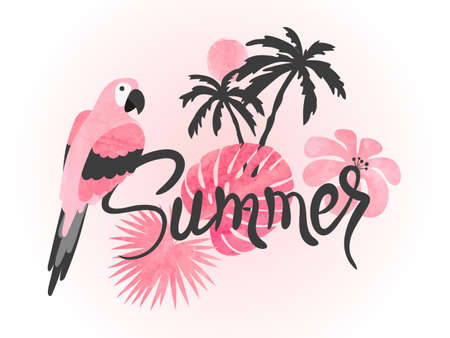 Summer watercolor tropical vector illustration with parrot and palm leaves. Standard-Bild - 121719629