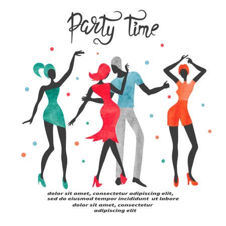 Group of dancing people. Watercolor party vector illustration. Standard-Bild - 121719631