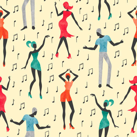 Seamless dance pattern. Vector background with watercolor dancing people. Standard-Bild - 121719632
