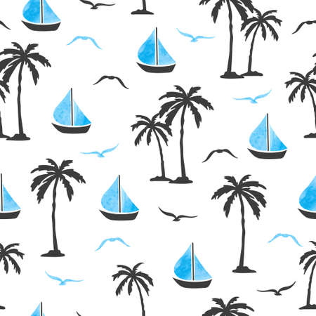 Sea summer seamless pattern with palm trees and ships. Standard-Bild - 121719633