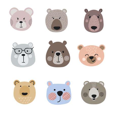 Set of cute cartoon bears. Vector little bear heads.