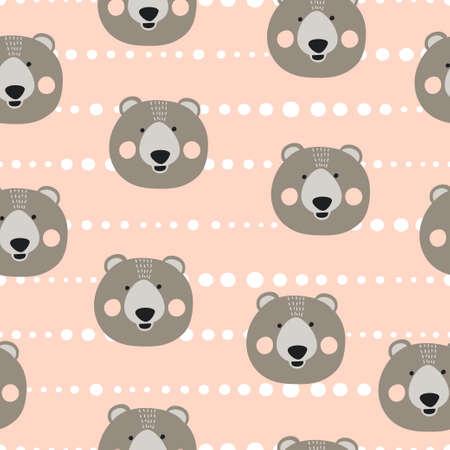 Seamless cute bears pattern. Vector background for kids. Standard-Bild - 121719636
