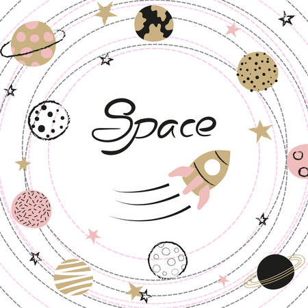 Space vector illustration with hand drawn planets and rocket for kids. Standard-Bild - 121719637