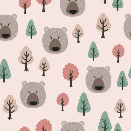 Seamless Pattern in Scandinavian style with cute bears and trees. Standard-Bild - 121719638