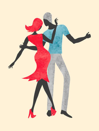 Dancing couple. Dance watercolor vector illustration. Standard-Bild - 121719655