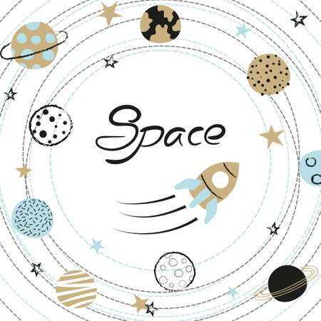 Space kids vector illustration with hand drawn planets and rocket. Standard-Bild - 121719656