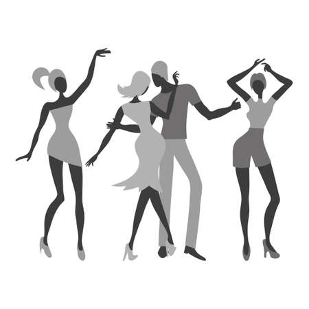 Group of young dancing people. Black and white vector illustration. Standard-Bild - 121719658
