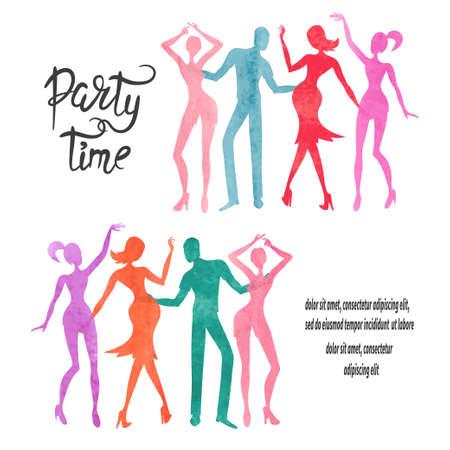 Group of dancing people. Watercolor party vector set. Standard-Bild - 121719659