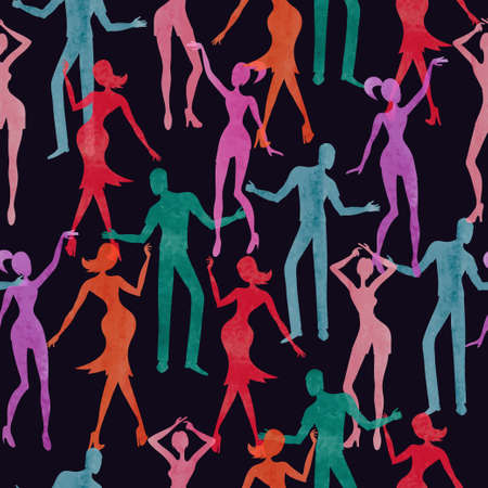 Seamless dance pattern. Vector colorful background with watercolor dancing people. Standard-Bild - 121719660