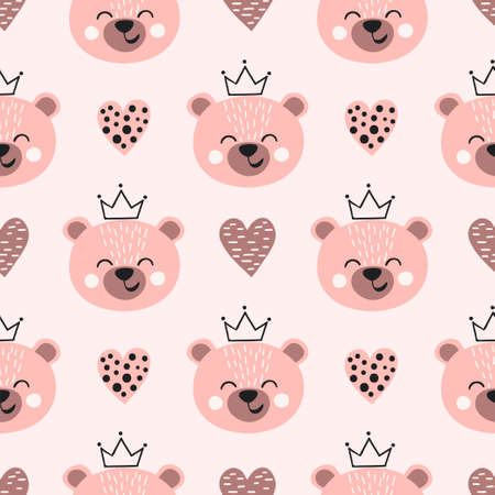 Seamless cute bear princess pattern. Kids print. Standard-Bild - 121719661
