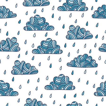 Seamless rainy pattern with doodle clouds and rain drops.