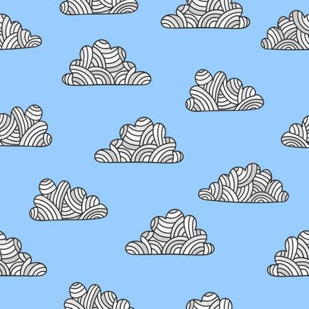 Seamless vector doodle clouds pattern. Standard-Bild - 121719667