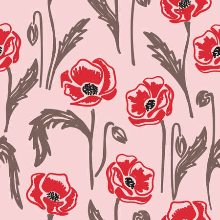 Seamless vector doodle poppies pattern. Illustration