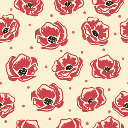 Seamless doodle poppies pattern. Vector floral background. Standard-Bild - 121719670