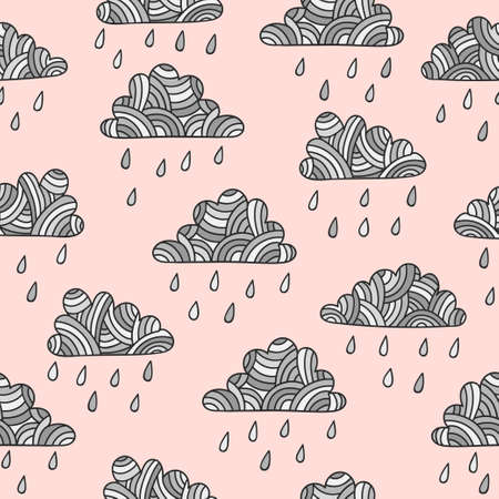 Seamless abstract rainy pattern with hand drawn clouds and rain drops. Standard-Bild - 122160803