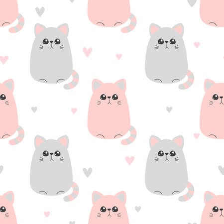 Seamless cute pink cat pattern. Vector baby print.
