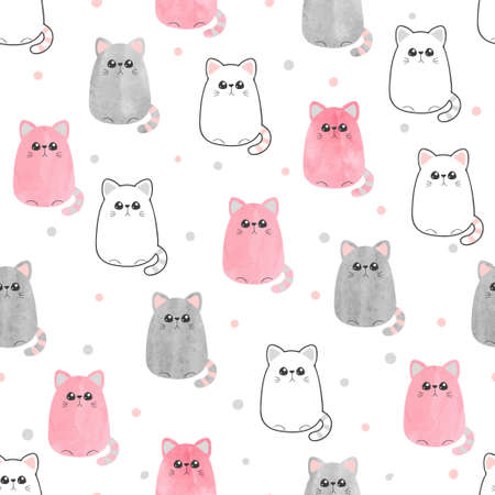 Cute cats pattern. Seamless vector background with kitty for kids design. Standard-Bild - 122160811