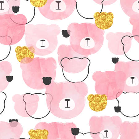 Seamless pink pattern with abstract watercolor bears. Standard-Bild - 122160812