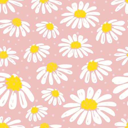 Seamless daisy pattern. Vector floral background with white chamomiles. Standard-Bild - 122160815