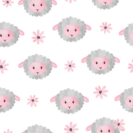 Seamless vector pattern with cute watrcolor sheep and flowers. Standard-Bild - 124348231