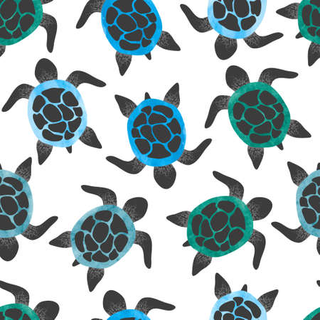 Seamless watercolor turtles pattern. Vector background with tortoises.