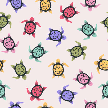 Seamless vector colorful turtles pattern.