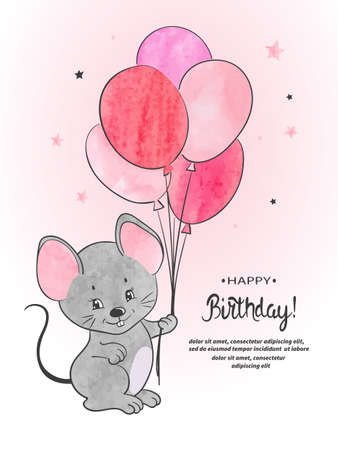 Cute mouse with balloons watercolor vector illustration. Happy Birthday card design. Standard-Bild - 124348239