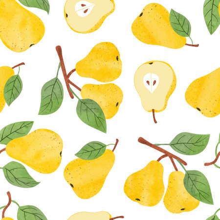Seamless watercolor pears pattern. Vector fruit background. Standard-Bild - 124348241