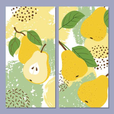 Pear vector illustration. Bright summer print. Standard-Bild - 124348242