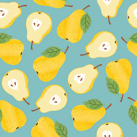 Seamless vector pattern with watercolor yellow pears. Standard-Bild - 124348243