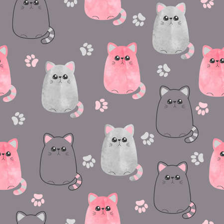 Seamless cute cats pattern. Vector background with watercolor kitty for kids. Standard-Bild - 124348244