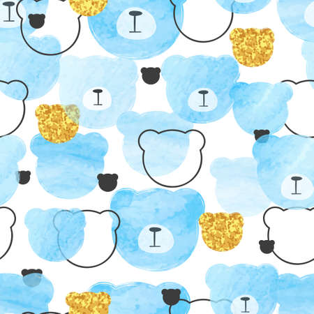 Seamless blue pattern with abstract watercolor bears. Standard-Bild - 124348245
