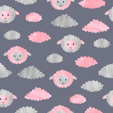 Seamless childish pattern with cute watercolor sheep and clouds. Standard-Bild - 124348247