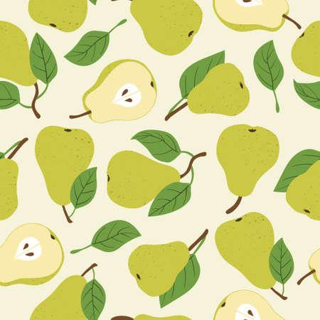 Seamless green pears pattern. Vector fruit background. Standard-Bild - 124348248