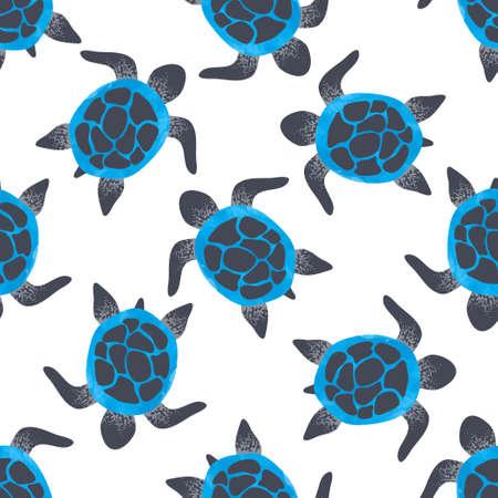 Seamless vector watercolor blue turtles pattern.