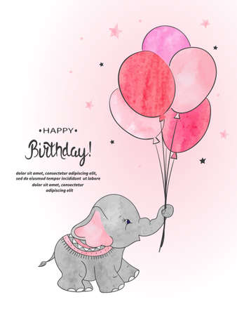 Cute elephant with balloons watercolor vector illustration. Happy Birthday card design. Standard-Bild - 124348250
