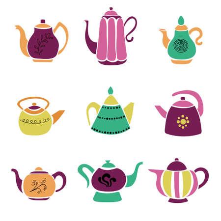 Set of colorful hand drawn teapots. Standard-Bild - 124348275