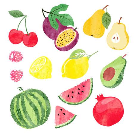Colorful set of watercolor fruits. Vector illustration. Standard-Bild - 124348283