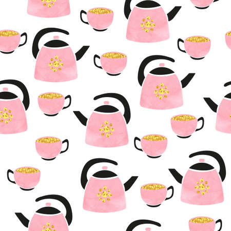 Cute watercolor teapot and cup seamless pattern. Vector tea background. Standard-Bild - 124348289