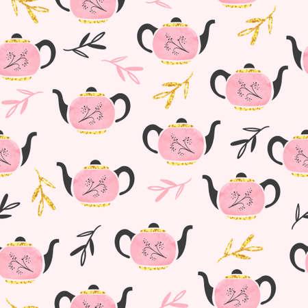 Seamless watercolor pink teapot pattern. Vector tea background. Standard-Bild - 124348293