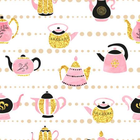 Seamless cute teapots pattern. Vector tea background. Standard-Bild - 124348295