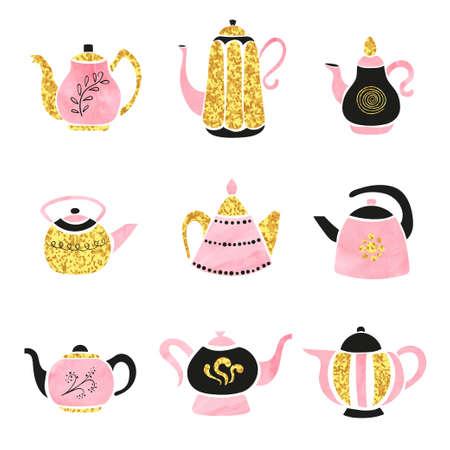 Vector set of cute hand drawn teapots. Standard-Bild - 124348298