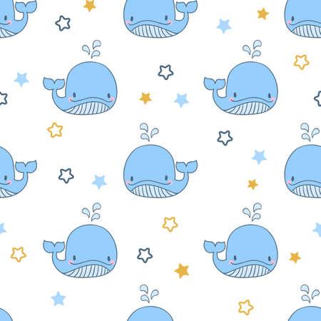 Seamless cute blue whales pattern. Vector baby print. Standard-Bild - 124348299